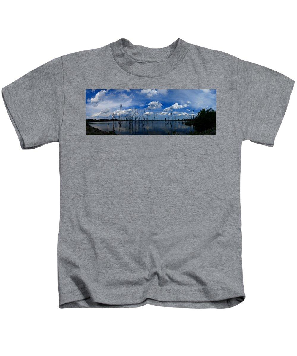 Manasquan Reservoir Panorama Kids T-Shirt featuring the photograph Manasquan Reservoir Panorama by Raymond Salani III