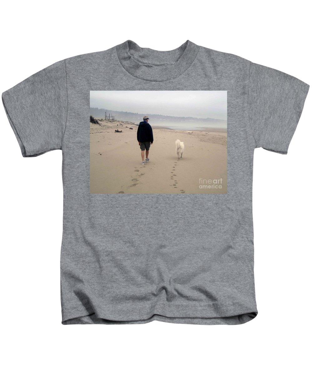 Beach Kids T-Shirt featuring the photograph Man's Best Friend by Fiona Kennard