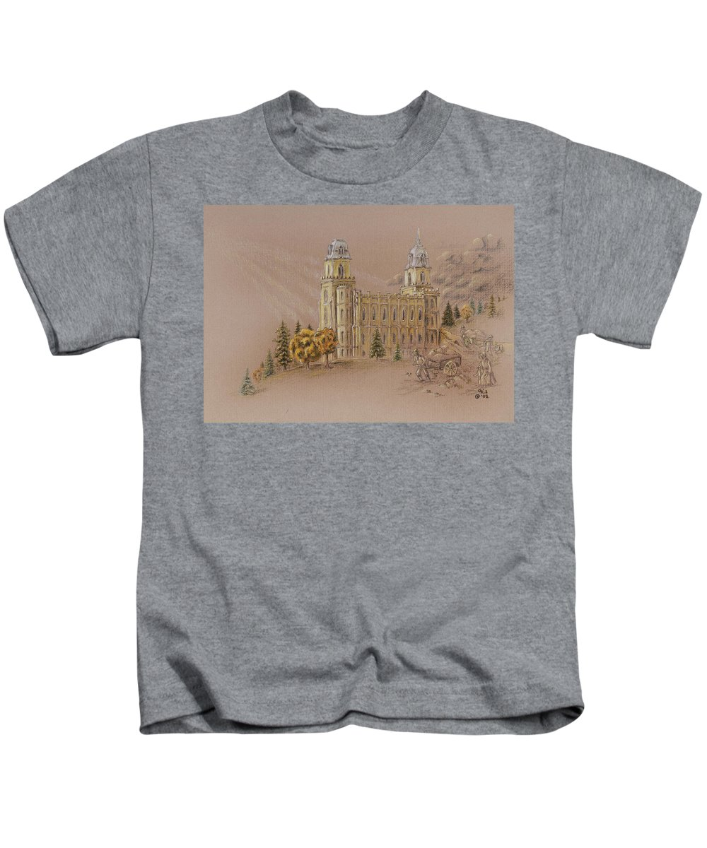 Manti Kids T-Shirt featuring the drawing Manti Utah Lds Temple by Pris Hardy