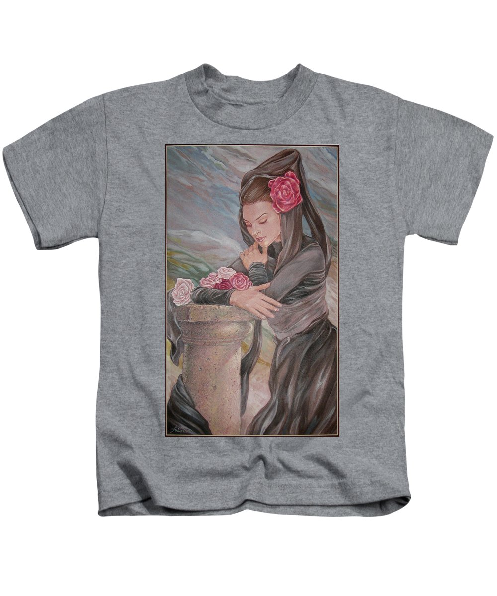 Art Nouveau Kids T-Shirt featuring the painting Mantilla by Angela Lowry