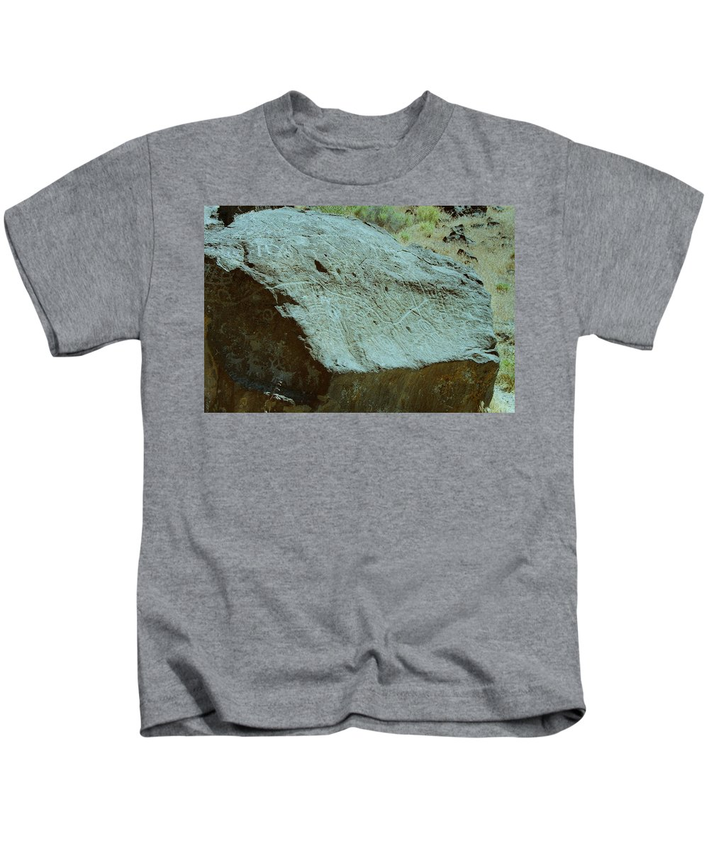 Indian Petroglyph Kids T-Shirt featuring the photograph Map Rock by Mike Wheeler
