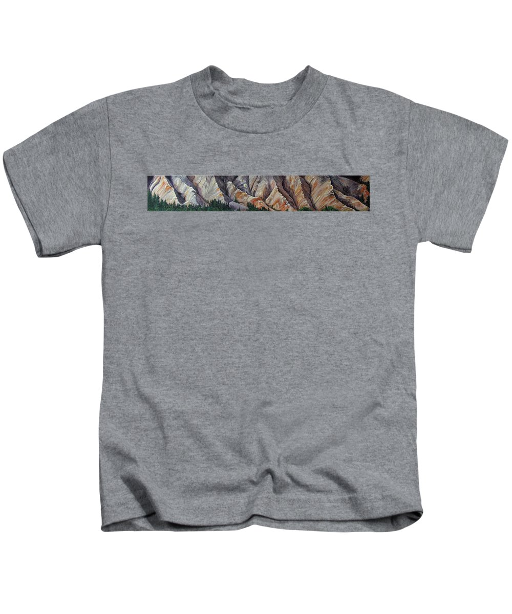 Mountains Kids T-Shirt featuring the painting Marble Ridge by Elaine Booth-Kallweit