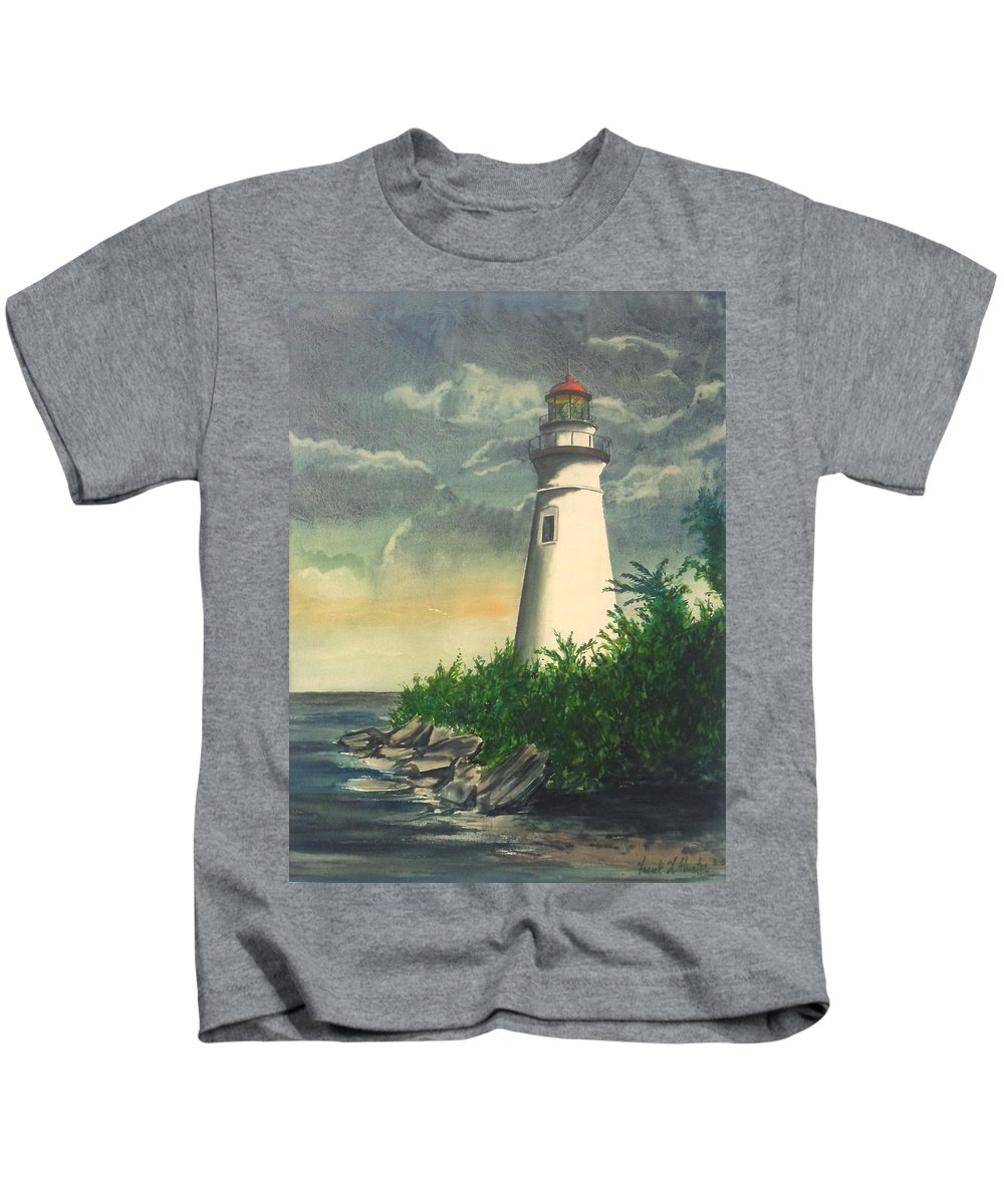 Lighthouse Lake Erie Marblehead Kids T-Shirt featuring the painting Marblehead Light On Lake Erie by Frank Hunter