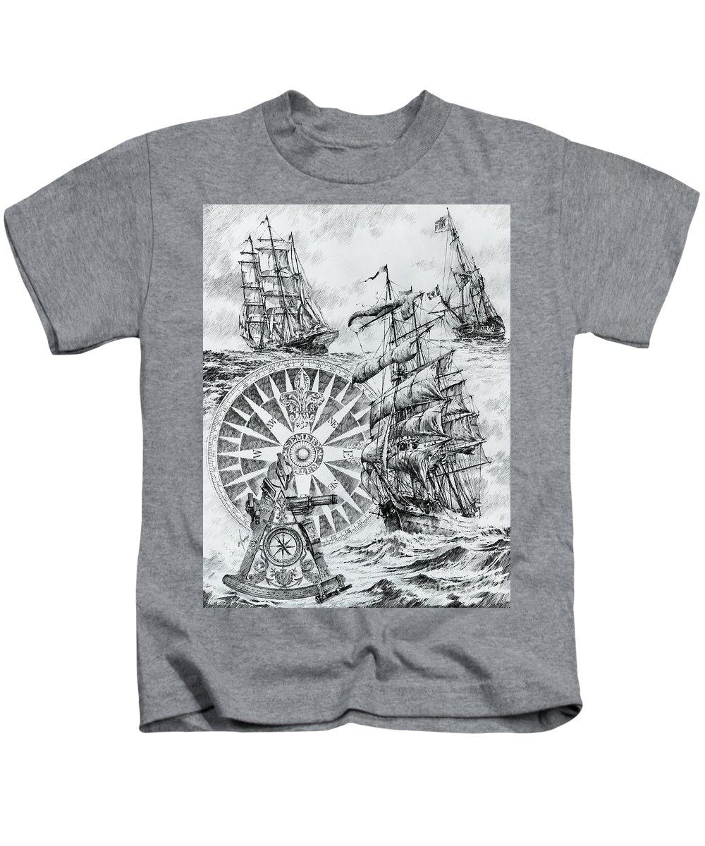 Maritime Fine Art Prints Kids T-Shirt featuring the drawing Maritime Heritage by James Williamson