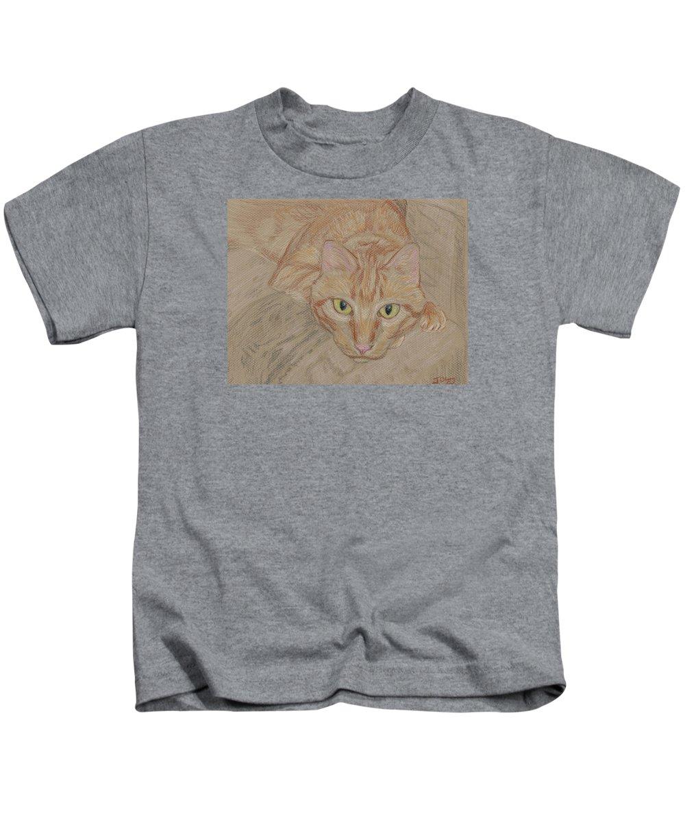 Cat Kids T-Shirt featuring the drawing Mariusz Gaze by Jeffrey Oleniacz