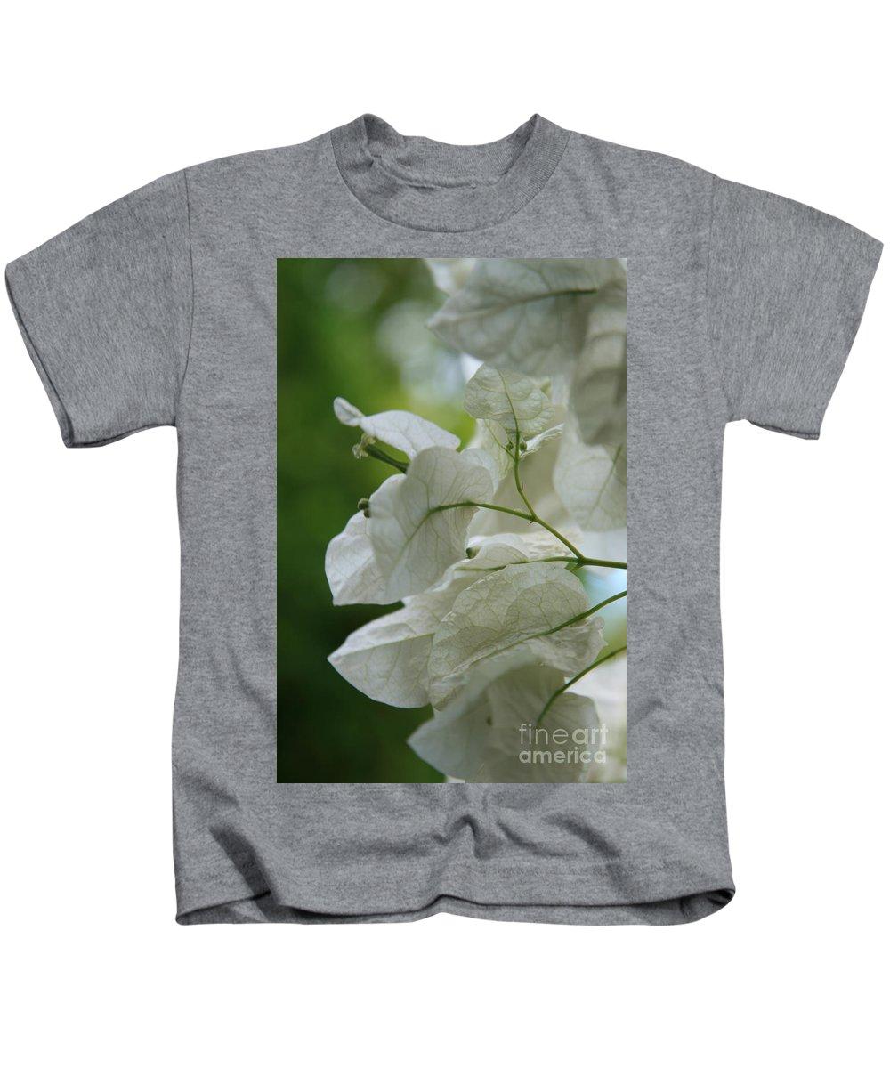 Aloha Kids T-Shirt featuring the photograph Mauna Kea White Bougainvillea by Sharon Mau