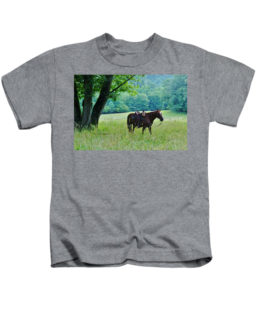 Horse Kids T-Shirt featuring the photograph Maverick by Holly Dwyer