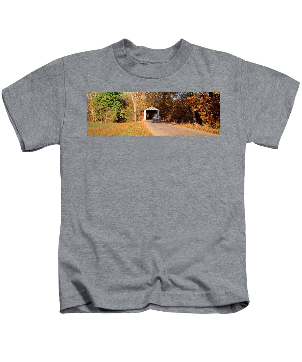 Photography Kids T-Shirt featuring the photograph Melcher Covered Bridge Parke Co In Usa by Panoramic Images