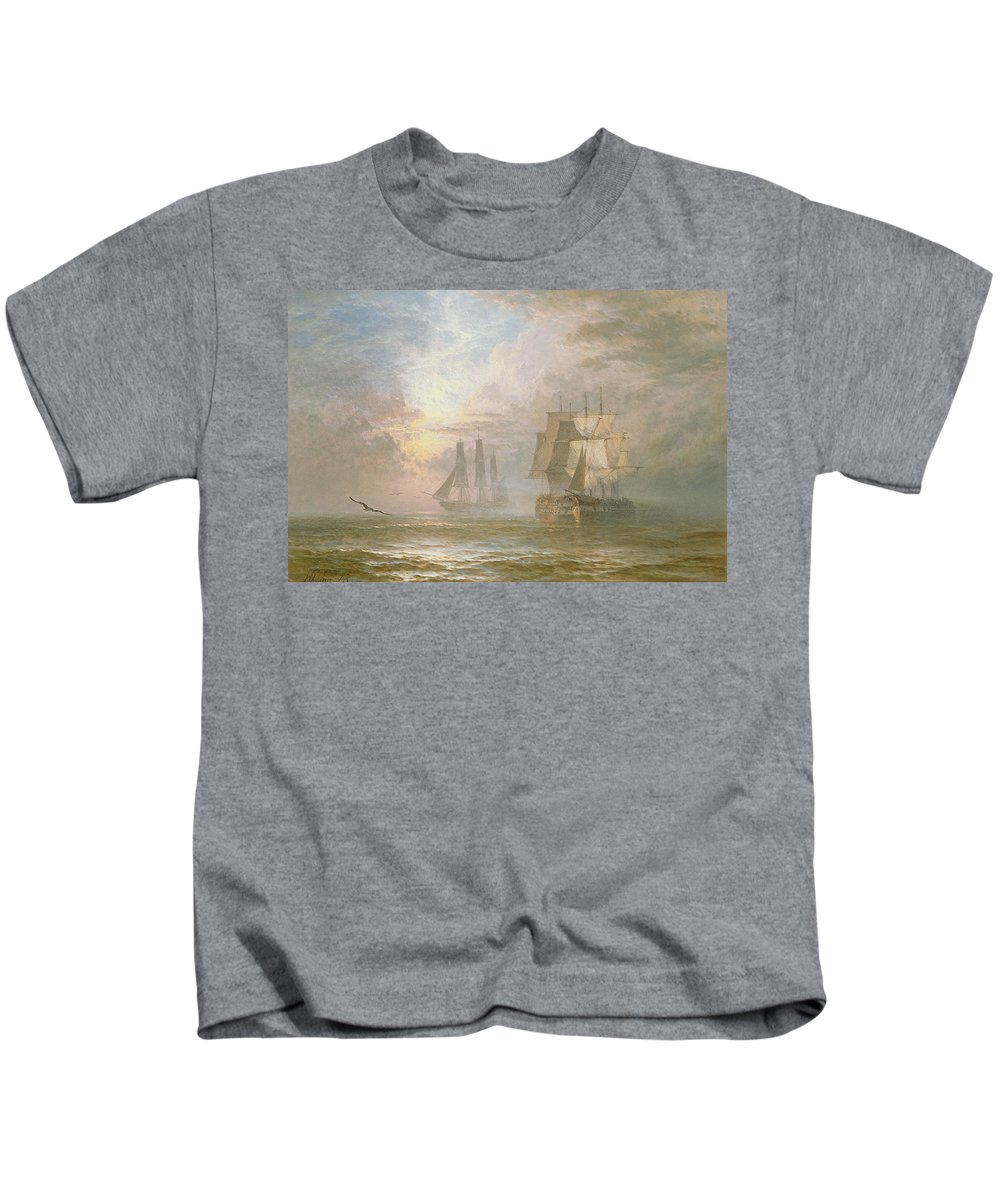 Seagulls Kids T-Shirt featuring the painting Men Of War At Anchor by Henry Thomas Dawson