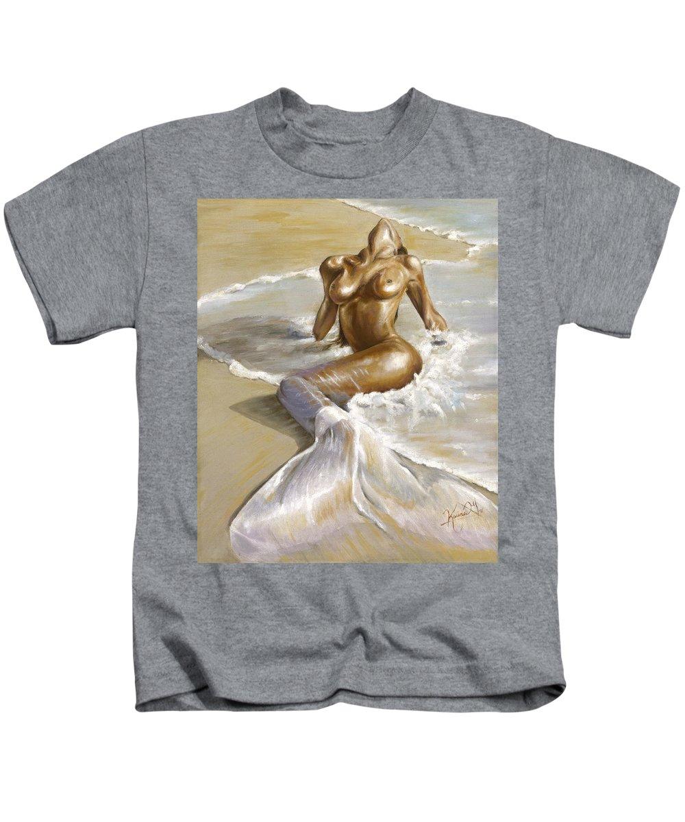 Mermaid Kids T-Shirt featuring the painting Mermaid by Karina Llergo