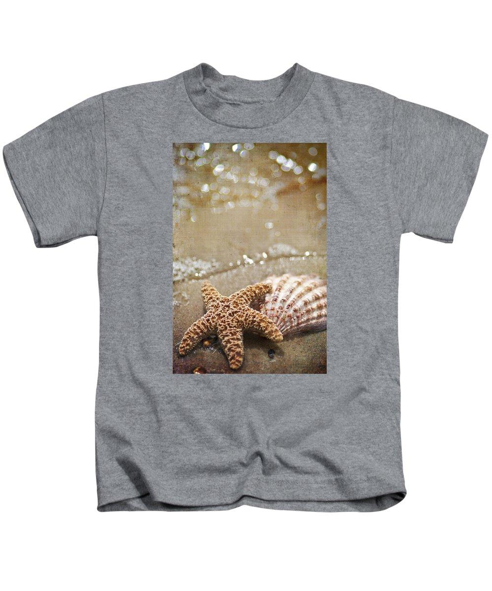 Starfish Kids T-Shirt featuring the photograph Mermaid Kisses And Starfish Wishes by Regina Williams