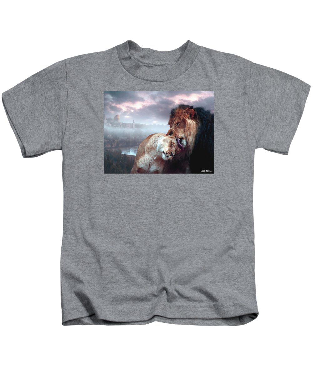 Lions Kids T-Shirt featuring the digital art Yeshua Loves Israel by Bill Stephens