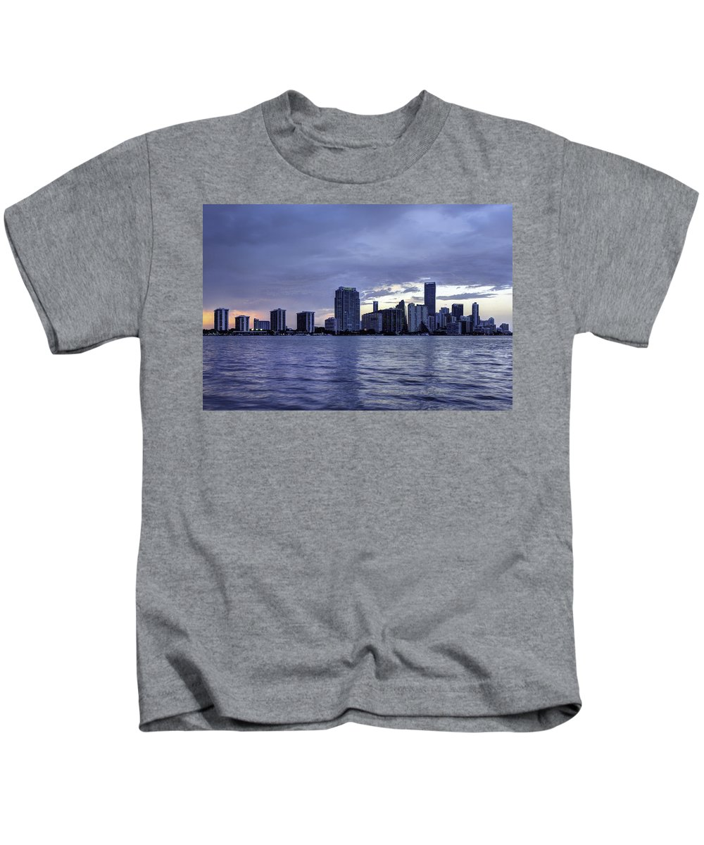 Miami Kids T-Shirt featuring the photograph Miami Skyline Waves by Manuel Lopez