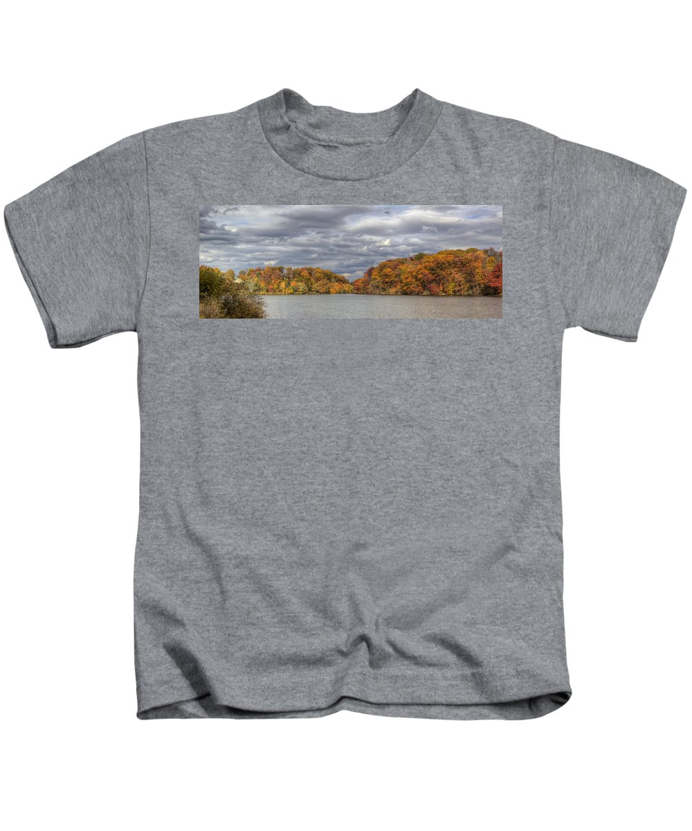 Mill Creek Park Kids T-Shirt featuring the photograph Mill Creek Park In Fall by David Dufresne