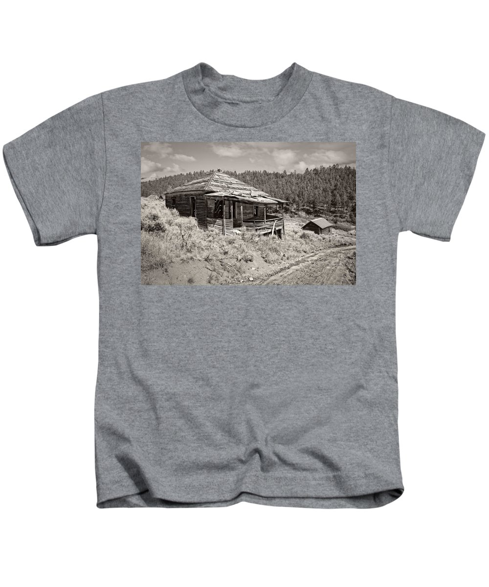 Montana Kids T-Shirt featuring the photograph Miner's Shack - Comet Ghost Mine - Montana by Daniel Hagerman