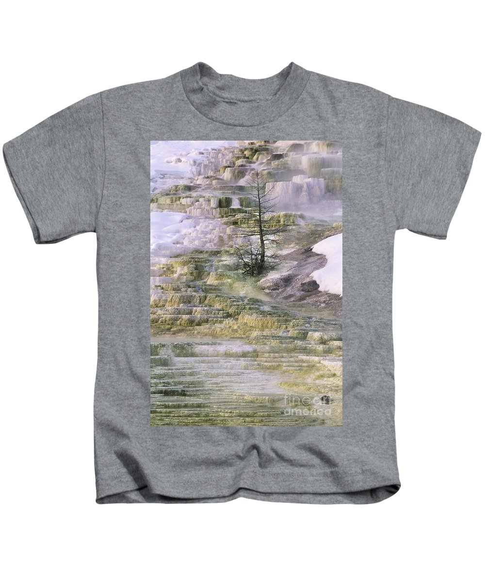 North America Kids T-Shirt featuring the photograph Minerva Springs Terraces Yellowstone National Park by Dave Welling