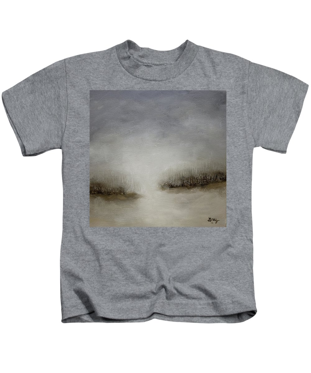 Minimal Kids T-Shirt featuring the painting Minimalist Abstract Landscape Original Painting by Gray Artus