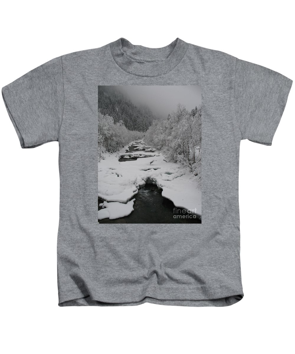Creek Kids T-Shirt featuring the photograph Mist Above The Creek by Christiane Schulze Art And Photography