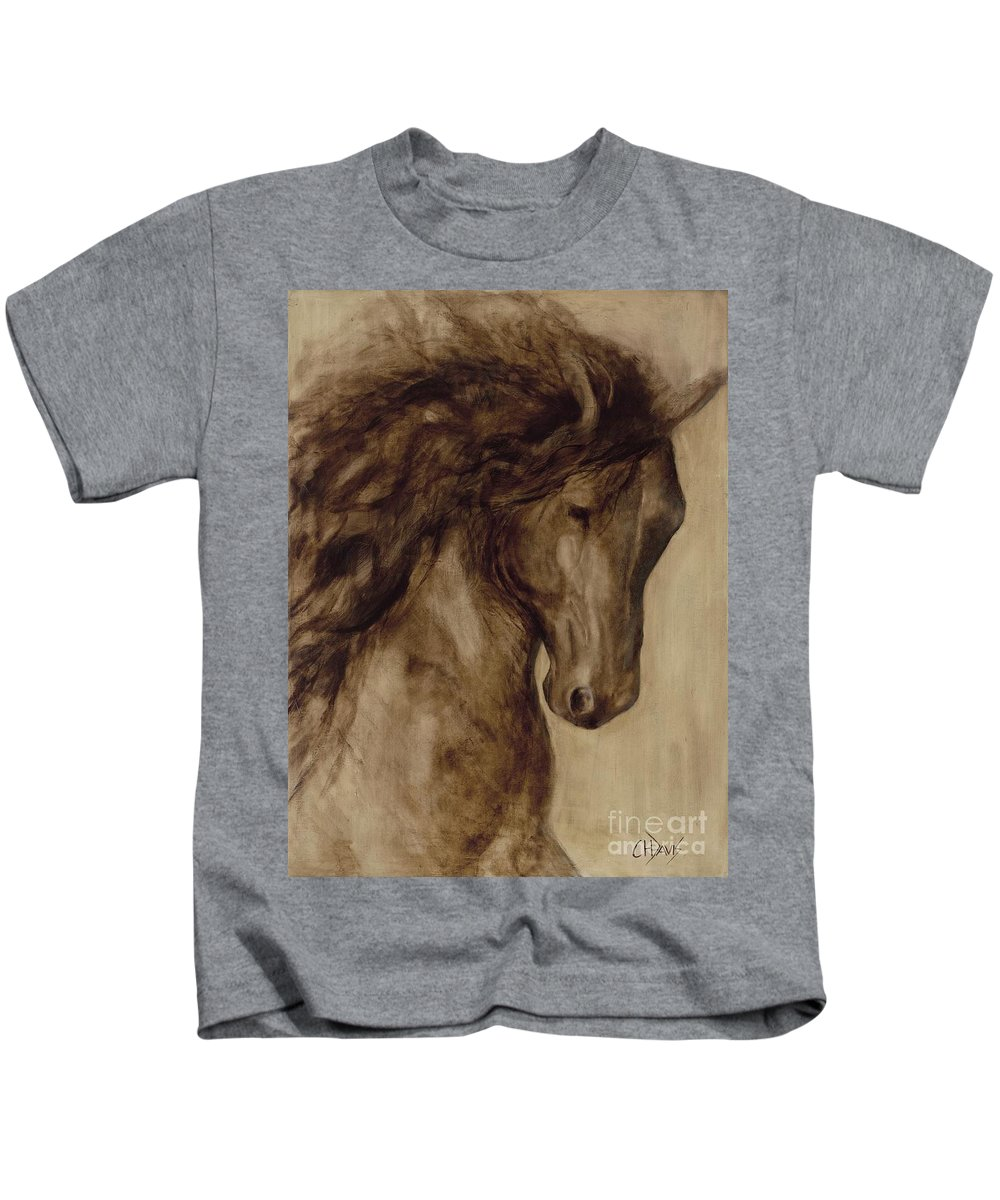 Horse Kids T-Shirt featuring the painting Misty by Catherine Davis
