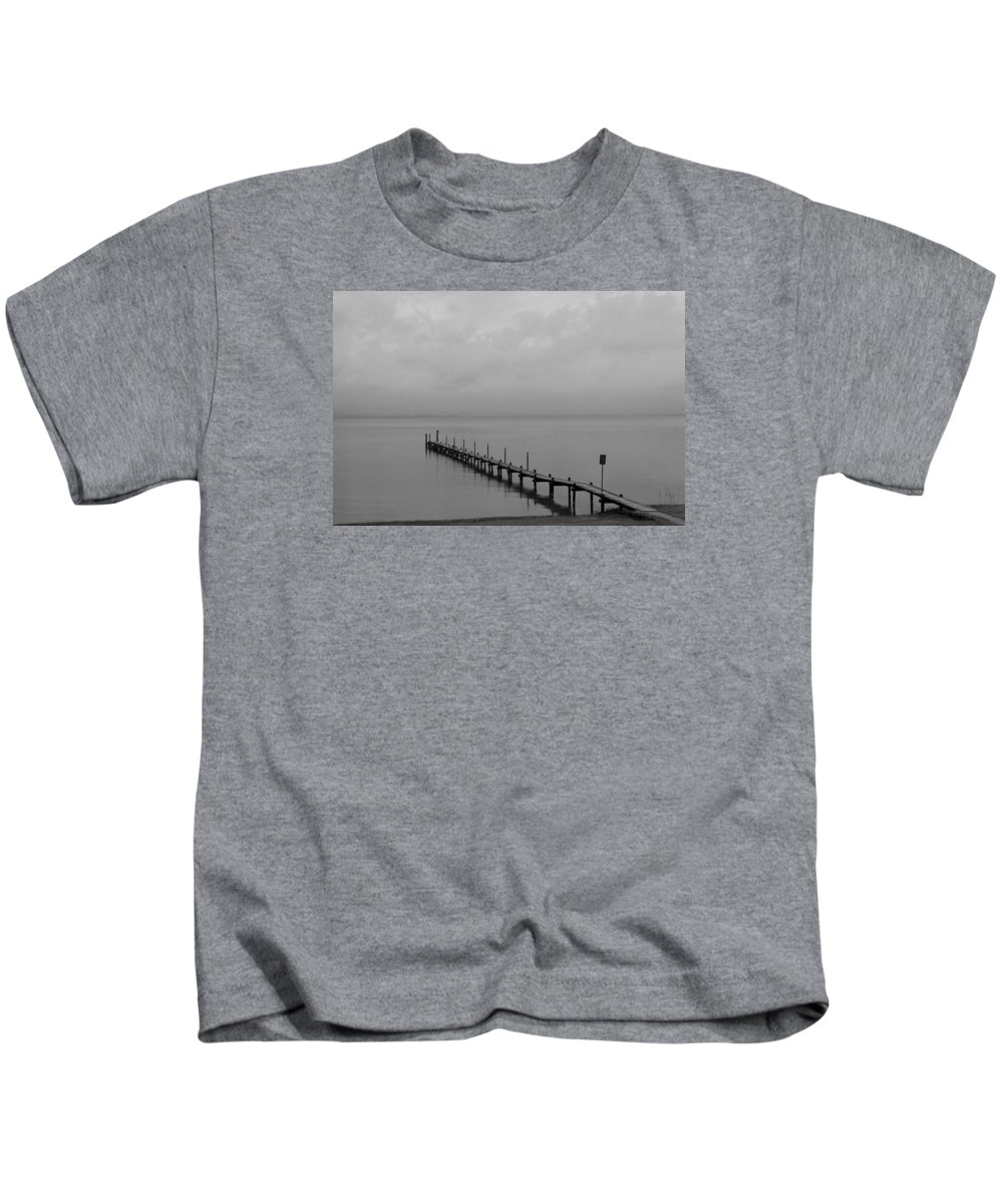 Chiemsee Kids T-Shirt featuring the photograph Misty Morning At The Lake by Christiane Schulze Art And Photography