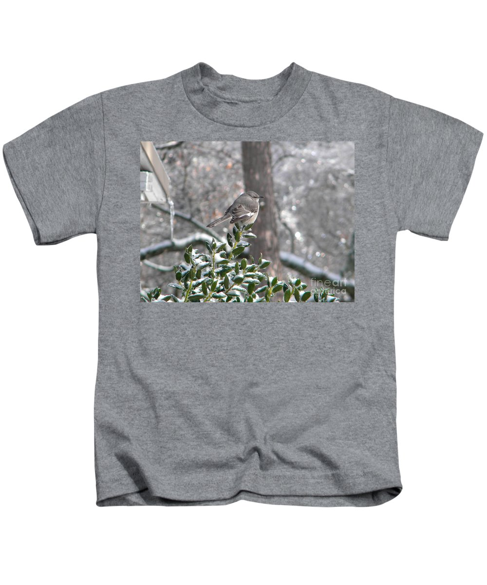 Mockingbird Kids T-Shirt featuring the photograph Mockingbird Cold by Nathanael Smith