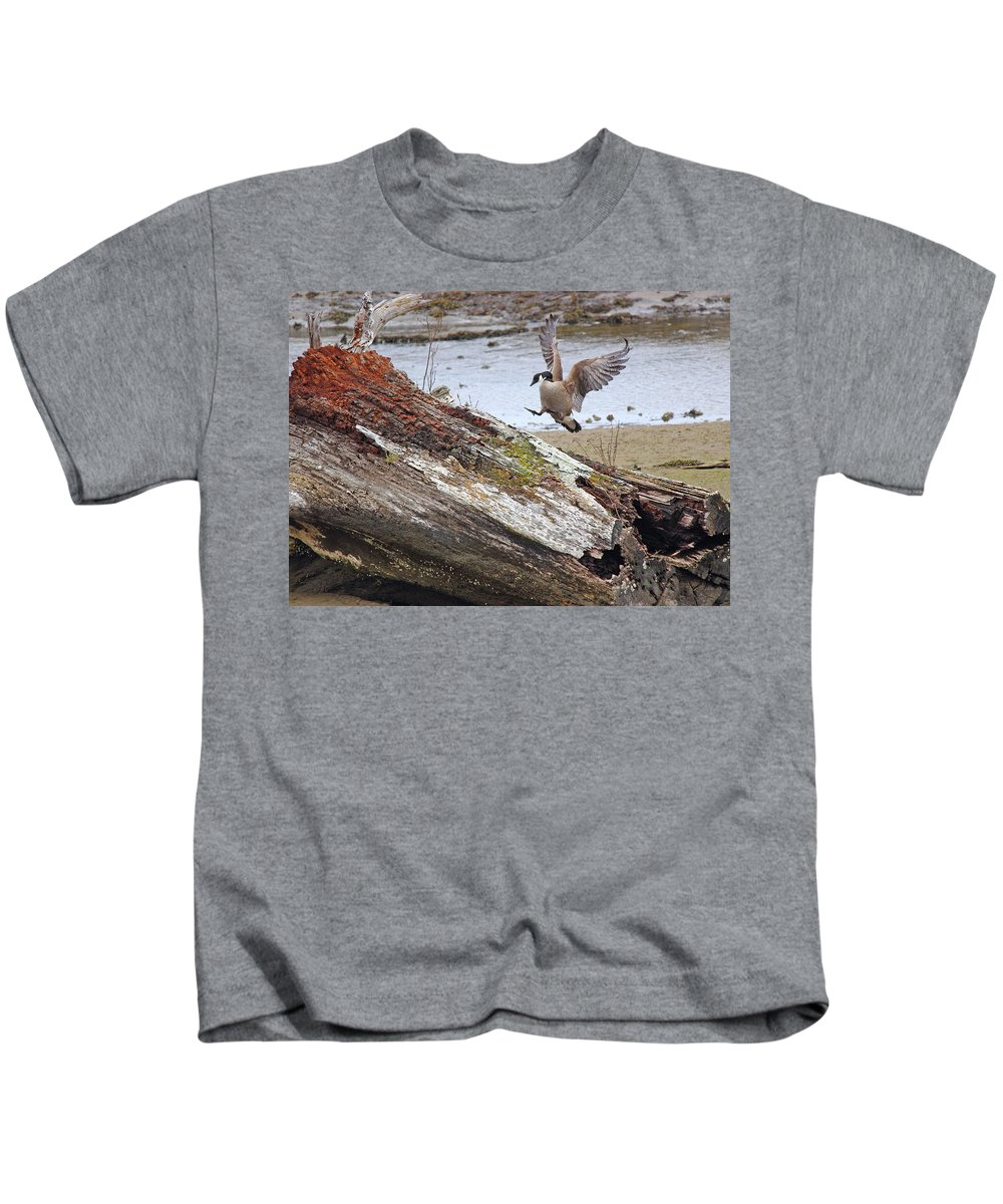 Canada Goose Kids T-Shirt featuring the photograph Mom Is Home by Randy Hall