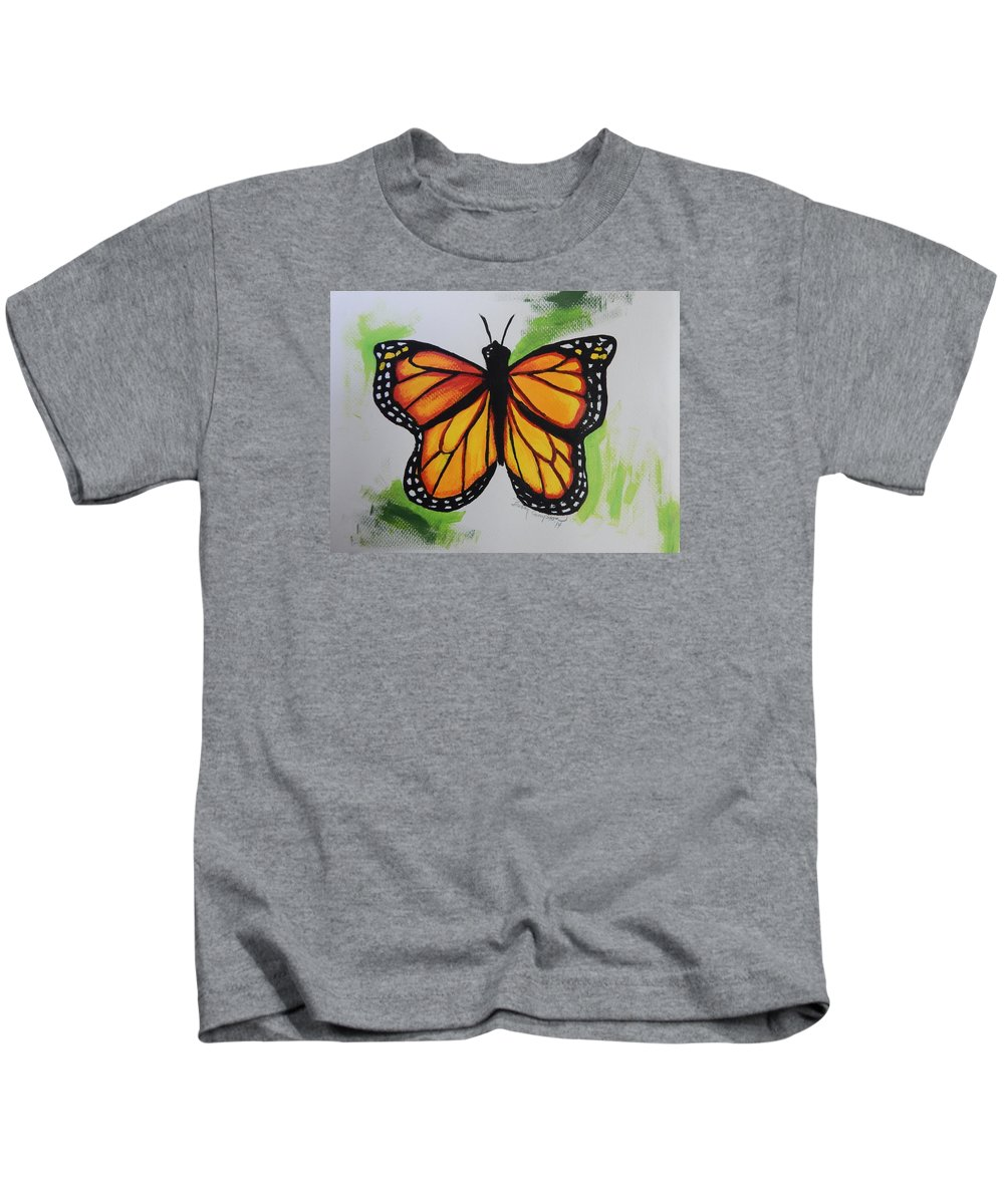 Orange Kids T-Shirt featuring the painting Monarch by Betty Compton