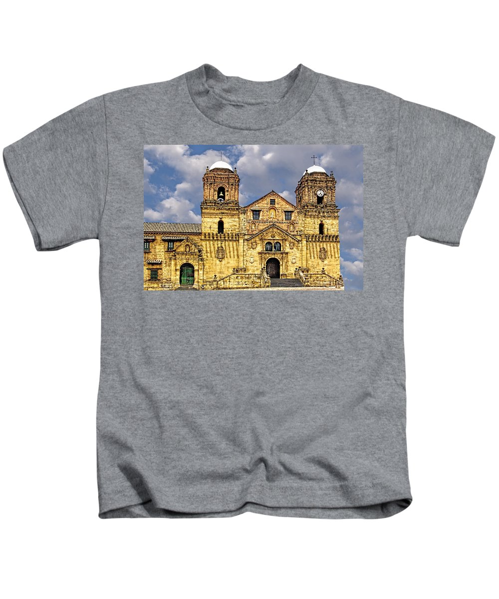 Architecture Kids T-Shirt featuring the photograph Mongui Church by Maria Coulson