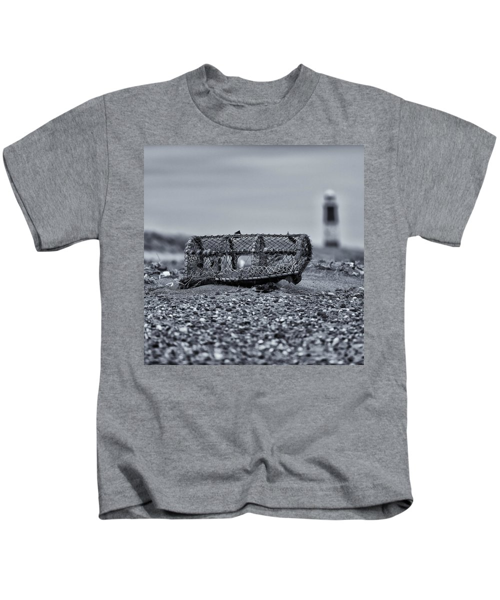 B&w Kids T-Shirt featuring the photograph Mono Lighthouse 02 by Russ Dixon