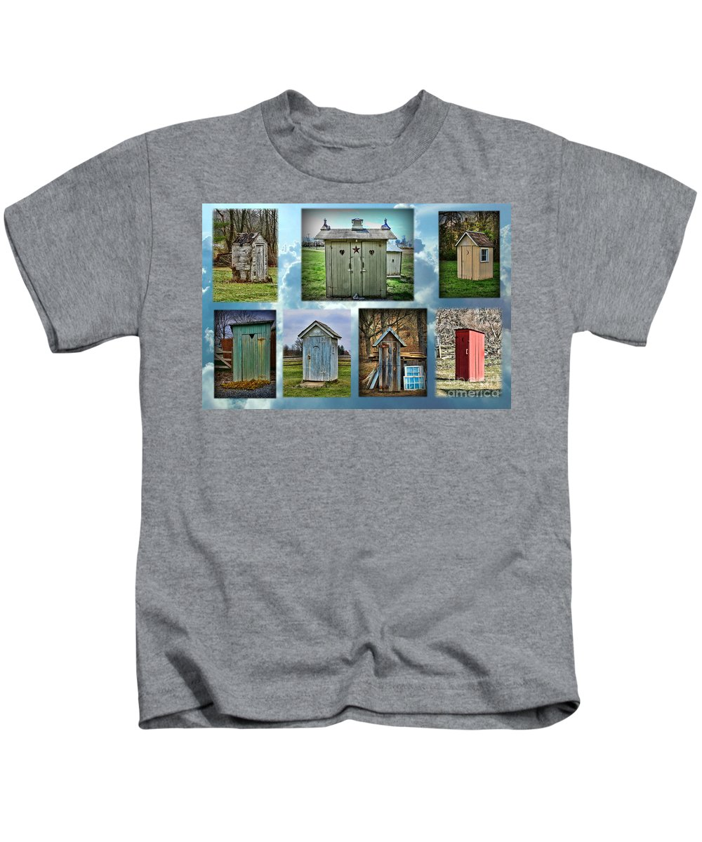 Paul Ward Kids T-Shirt featuring the photograph Montage Of Outhouses by Paul Ward