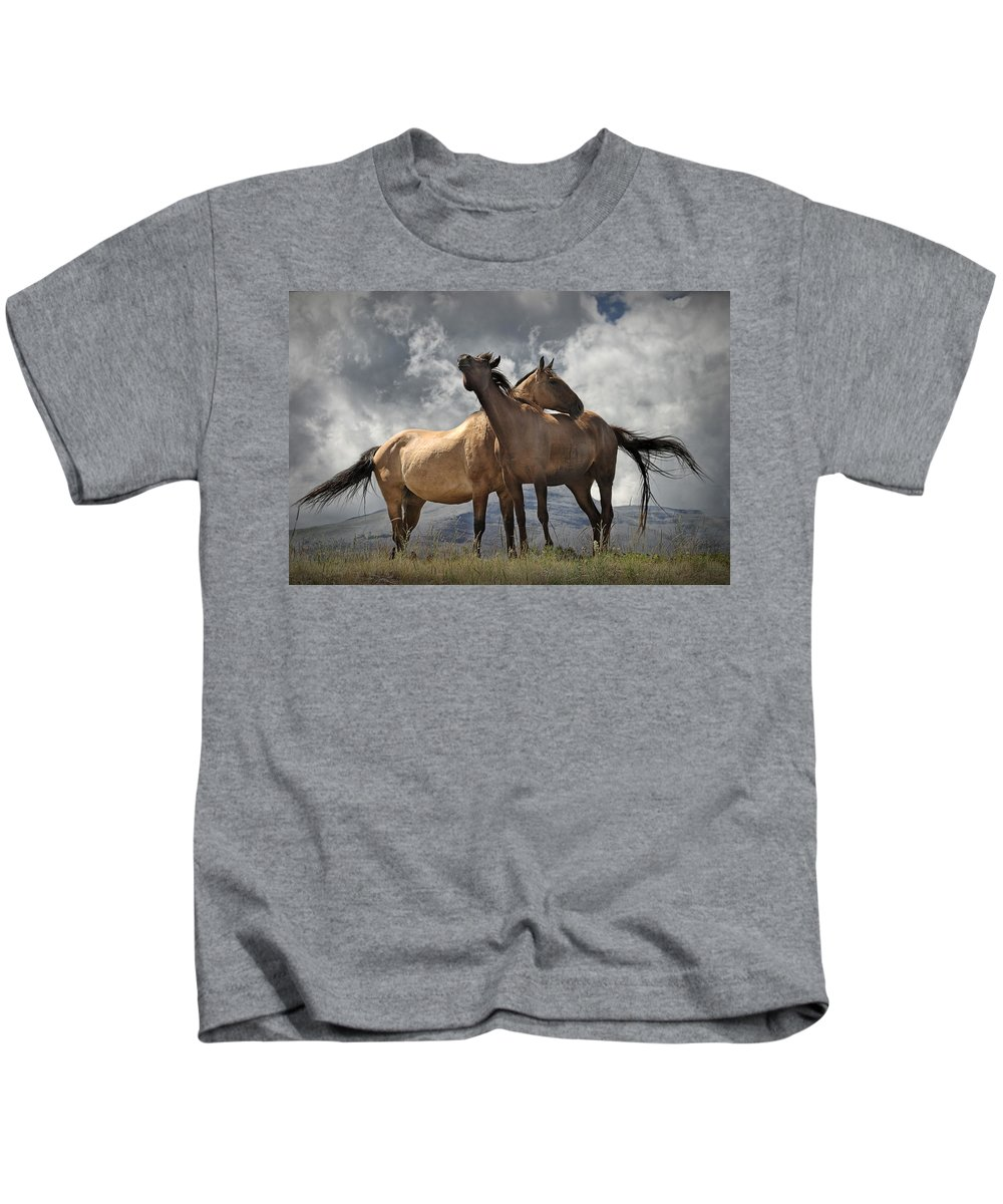 Art Kids T-Shirt featuring the photograph Montana Horses by Randall Nyhof