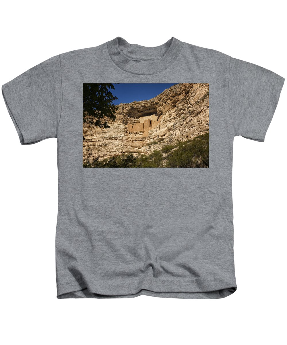 Montezuma Castle Kids T-Shirt featuring the photograph Montezuma Castle National Monument Az Dsc09056 by Greg Kluempers