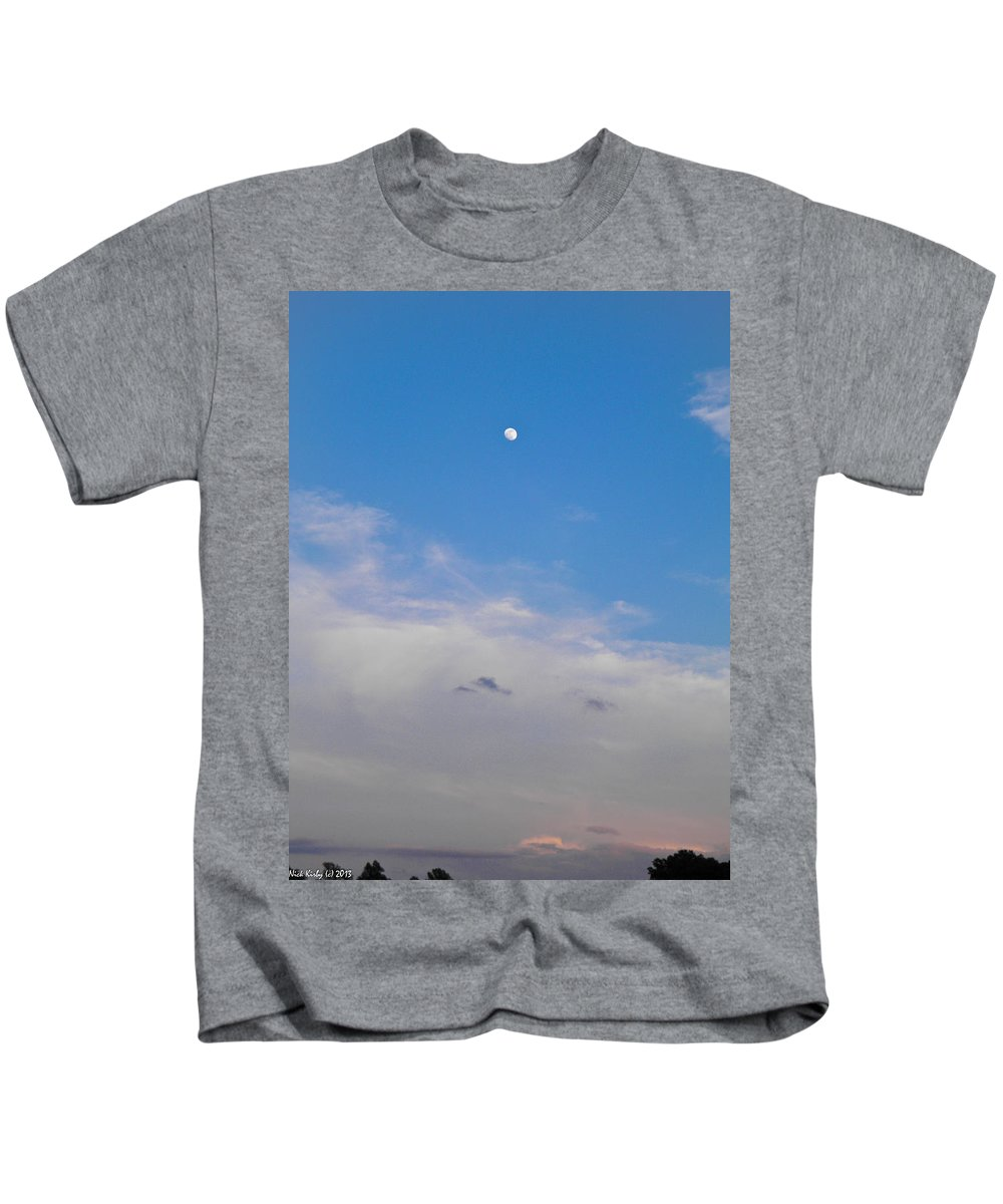 Moon Kids T-Shirt featuring the photograph Moon And Sunset by Nick Kirby