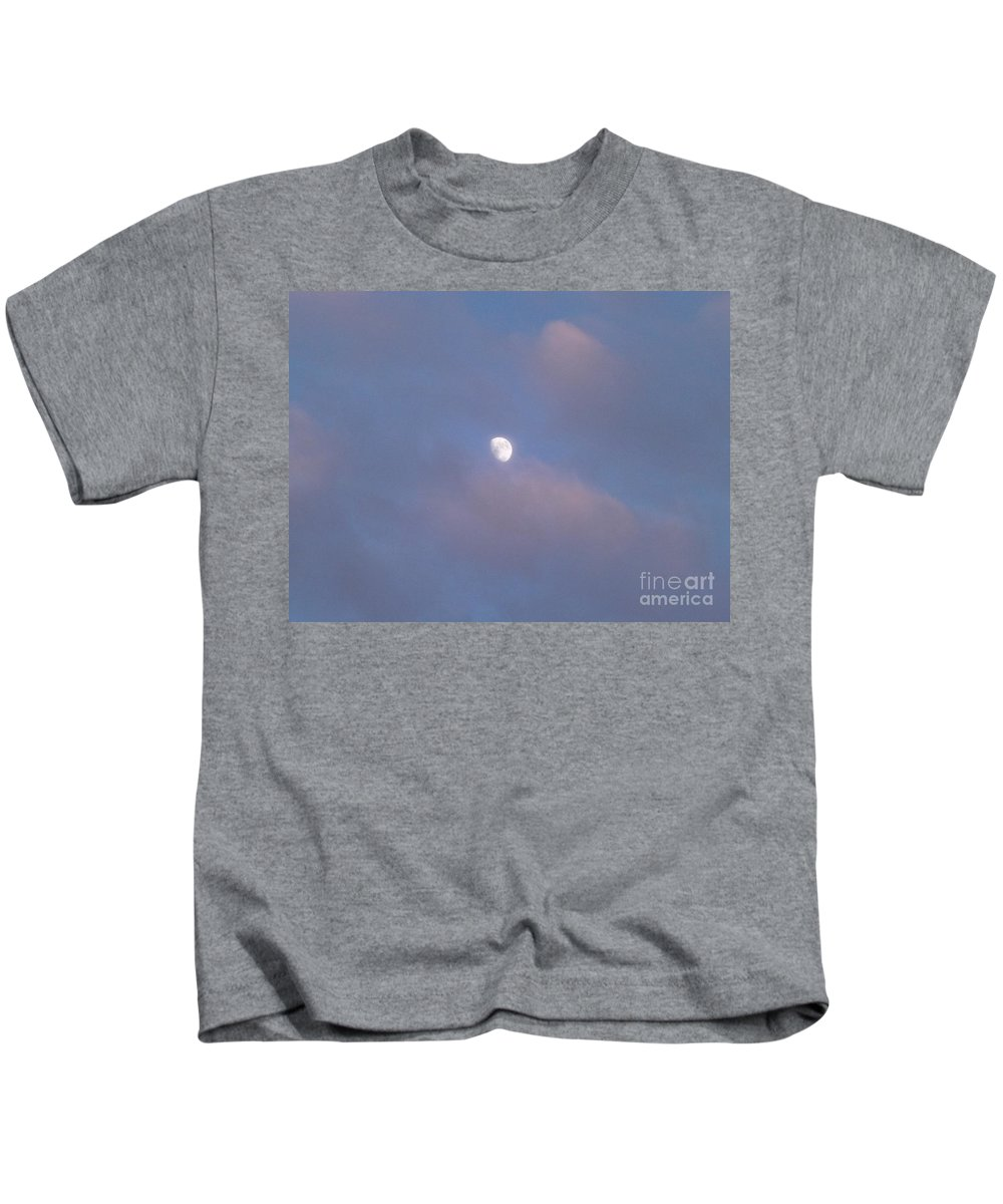 Moon Kids T-Shirt featuring the photograph Moon At Sunset by Jussta Jussta