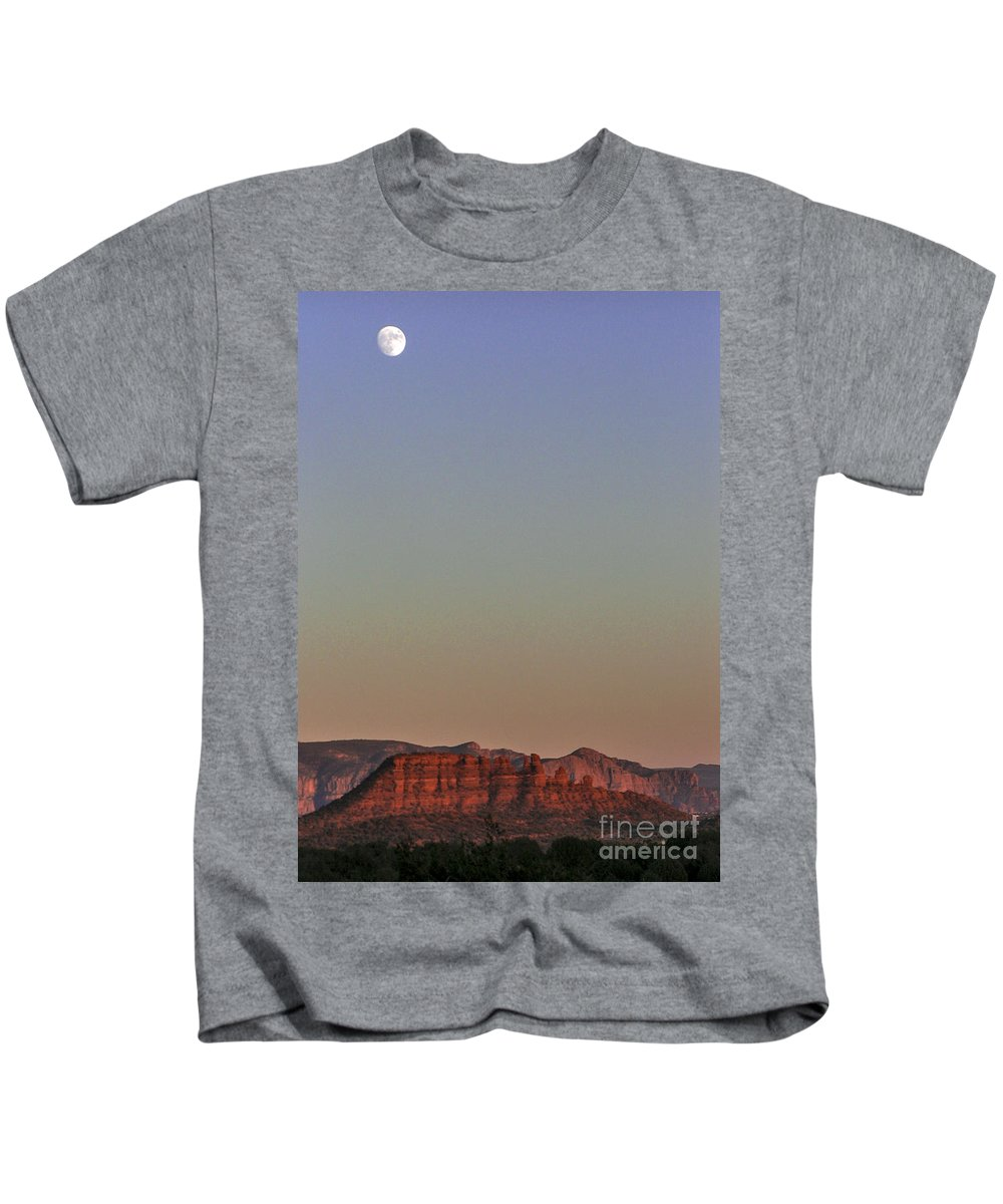 Lovejoy Kids T-Shirt featuring the photograph Moon Rise Sedona by Lovejoy Creations
