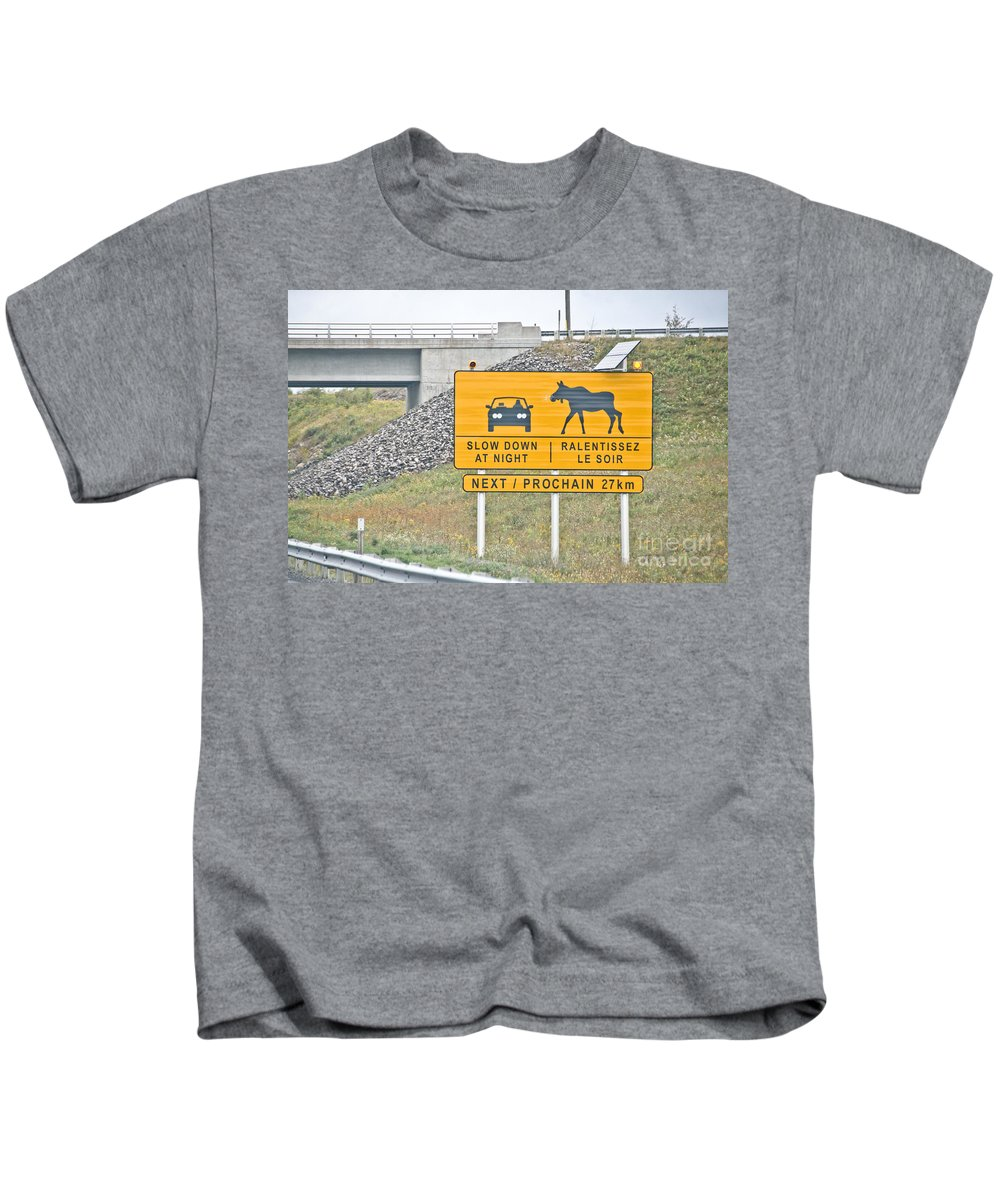 Kids T-Shirt featuring the photograph Moose Crossing by Cheryl Baxter
