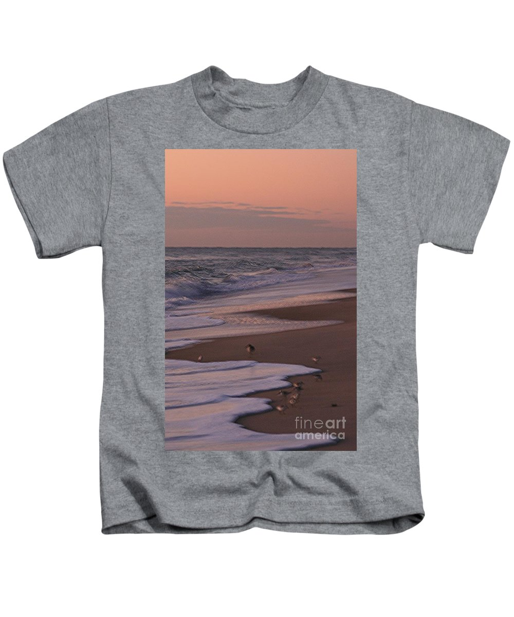 Beach Kids T-Shirt featuring the photograph Morning Birds At The Beach by Nadine Rippelmeyer