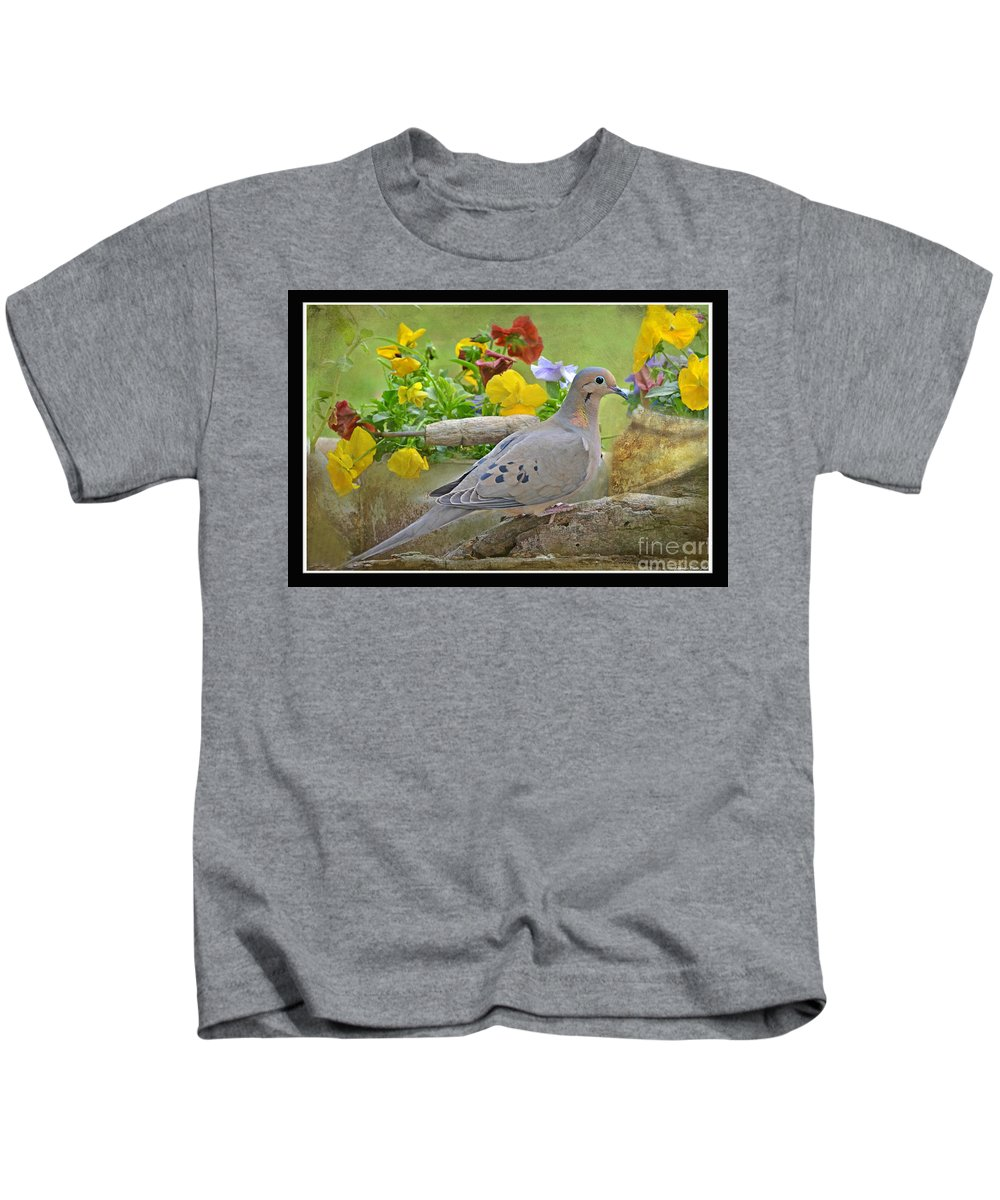 Nature Kids T-Shirt featuring the photograph Morning Dove With Pansies by Debbie Portwood