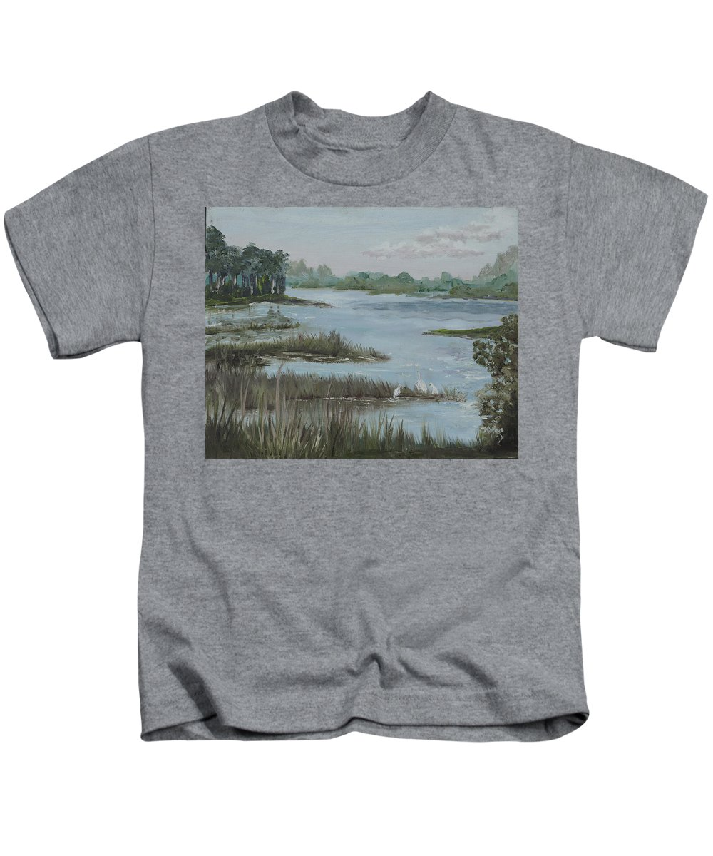 Marsh Kids T-Shirt featuring the painting Morning Marsh At Babcock Ranch by Kathy Przepadlo