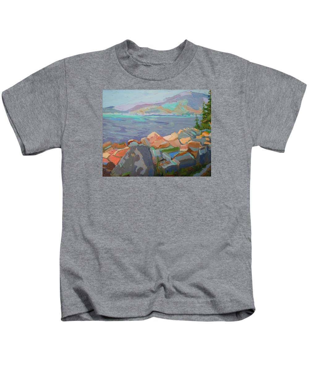 Landscape Kids T-Shirt featuring the painting Mt. Desert From Schoodic Point by Francine Frank