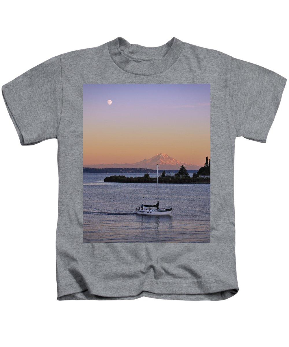 3scape Photos Kids T-Shirt featuring the photograph Mt. Rainier Afterglow by Adam Romanowicz