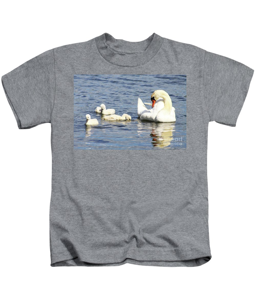 Swan Kids T-Shirt featuring the photograph Mute Swans by Alyce Taylor