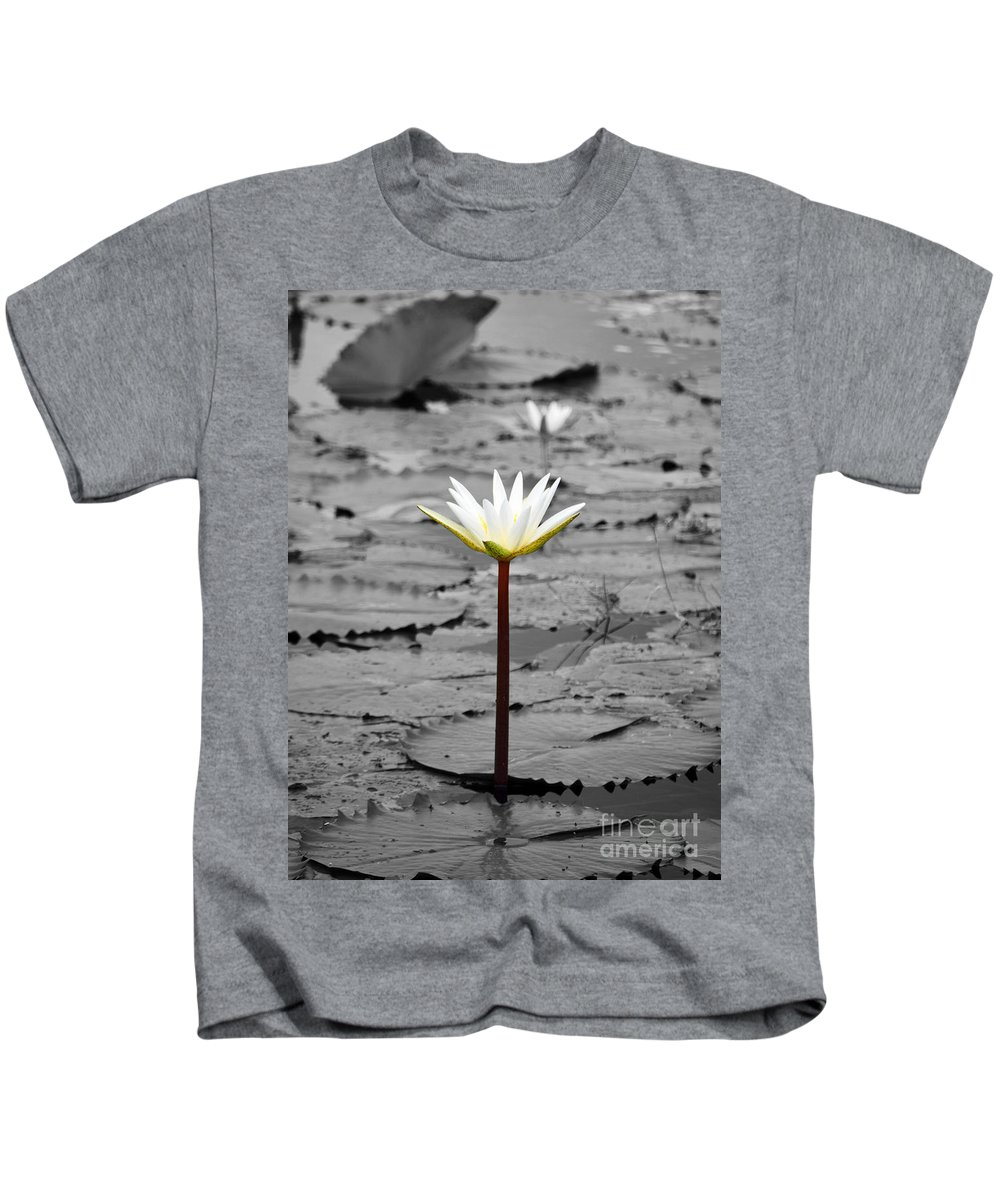 Flower Kids T-Shirt featuring the photograph Natural Water Lily Flowers And Pads Found On The Eastside Of Cozumel Mexico Color Splash Digital Art by Shawn O'Brien