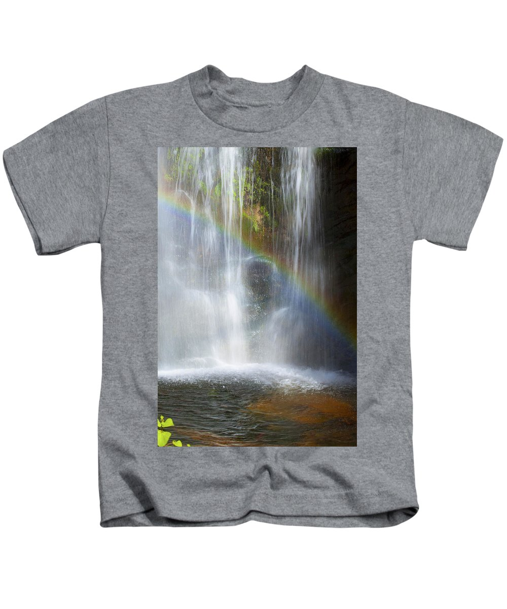 Rainbow Falls Kids T-Shirt featuring the photograph Natures Rainbow Falls by Jerry Cowart