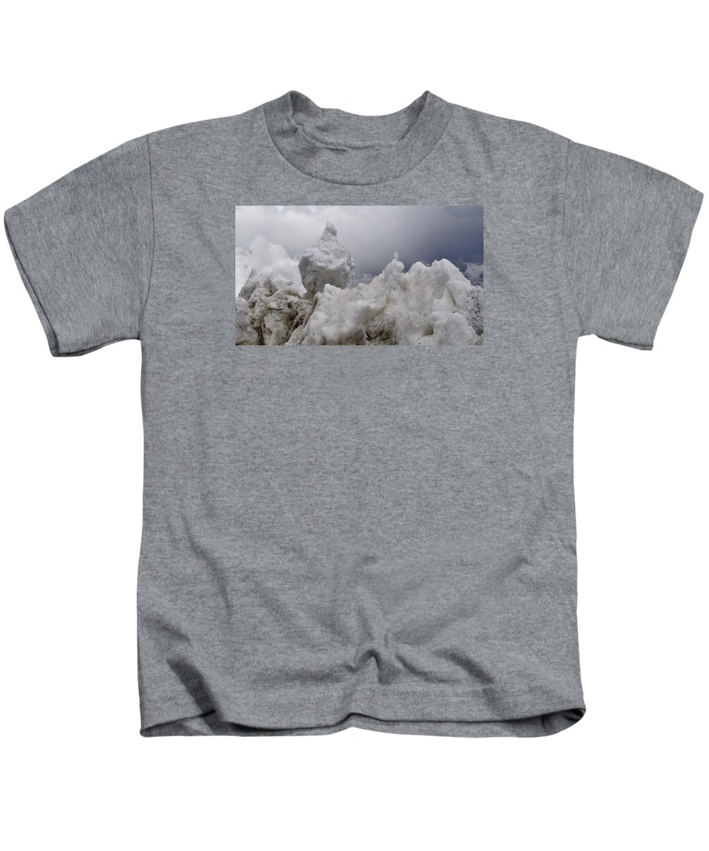 Photo Kids T-Shirt featuring the photograph Nature's Snow Sculpture by Csilla Florida