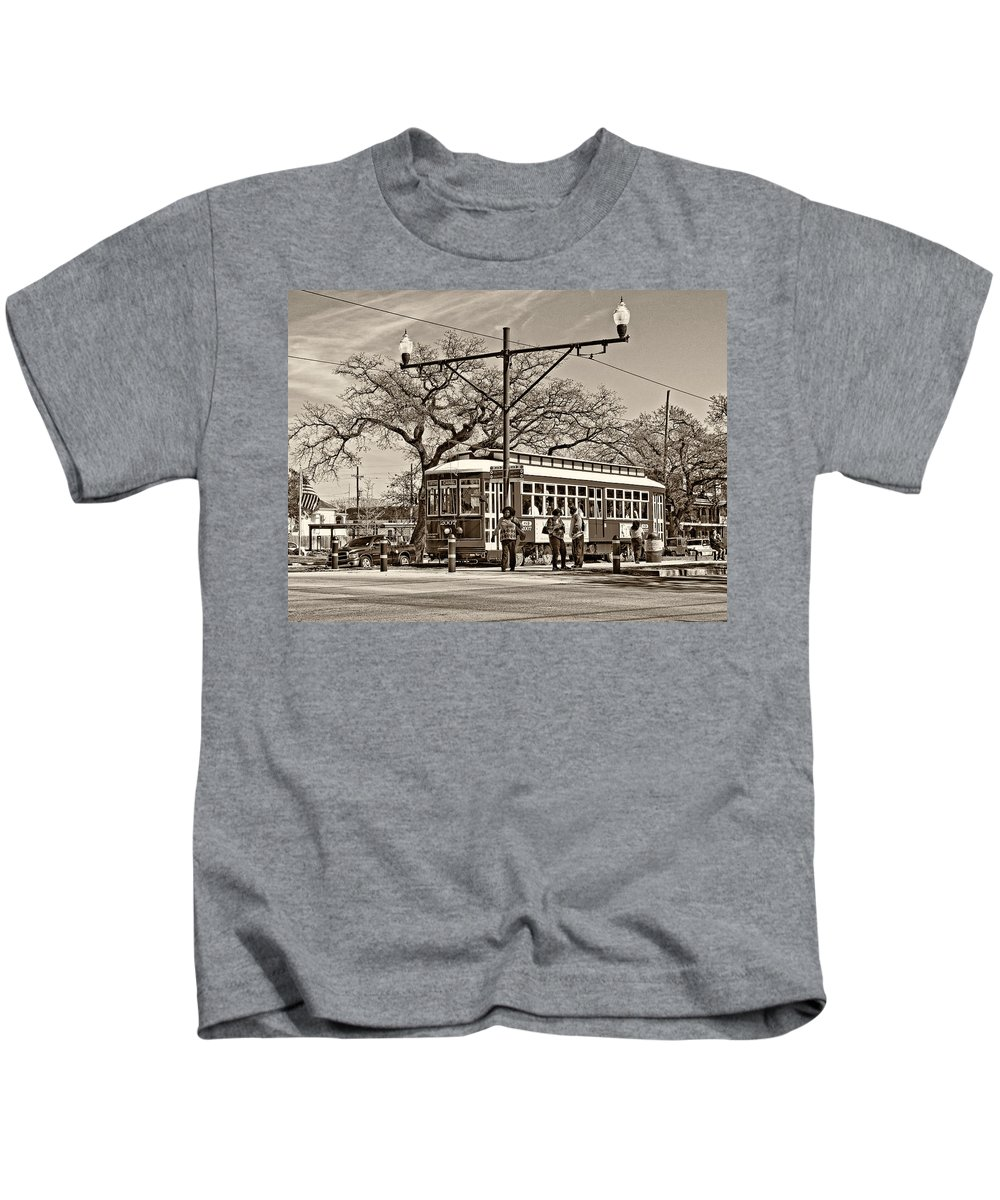 New Orleans Kids T-Shirt featuring the photograph New Orleans Streetcar Sepia by Steve Harrington