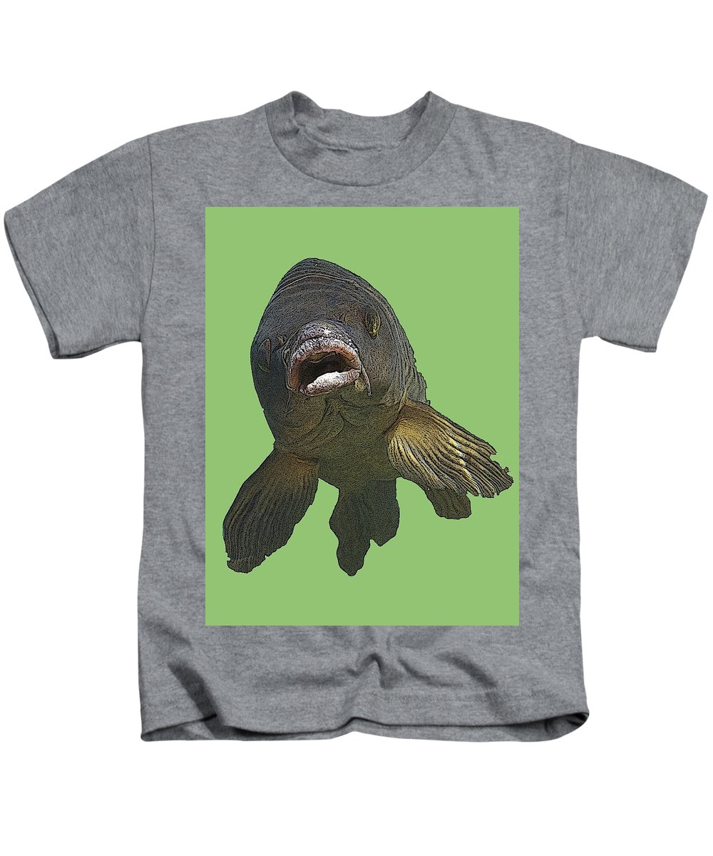 Aqua Kids T-Shirt featuring the photograph New Photographic Art Print For Sale  Open Mouthed Fish In Green Water by Toula Mavridou-Messer