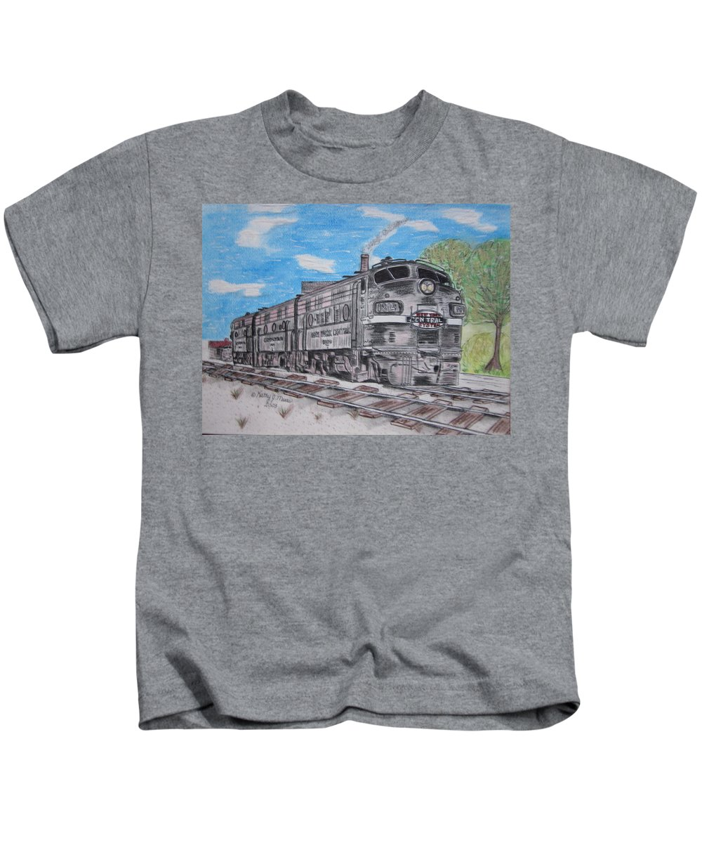 New York Kids T-Shirt featuring the painting New York Central Train by Kathy Marrs Chandler