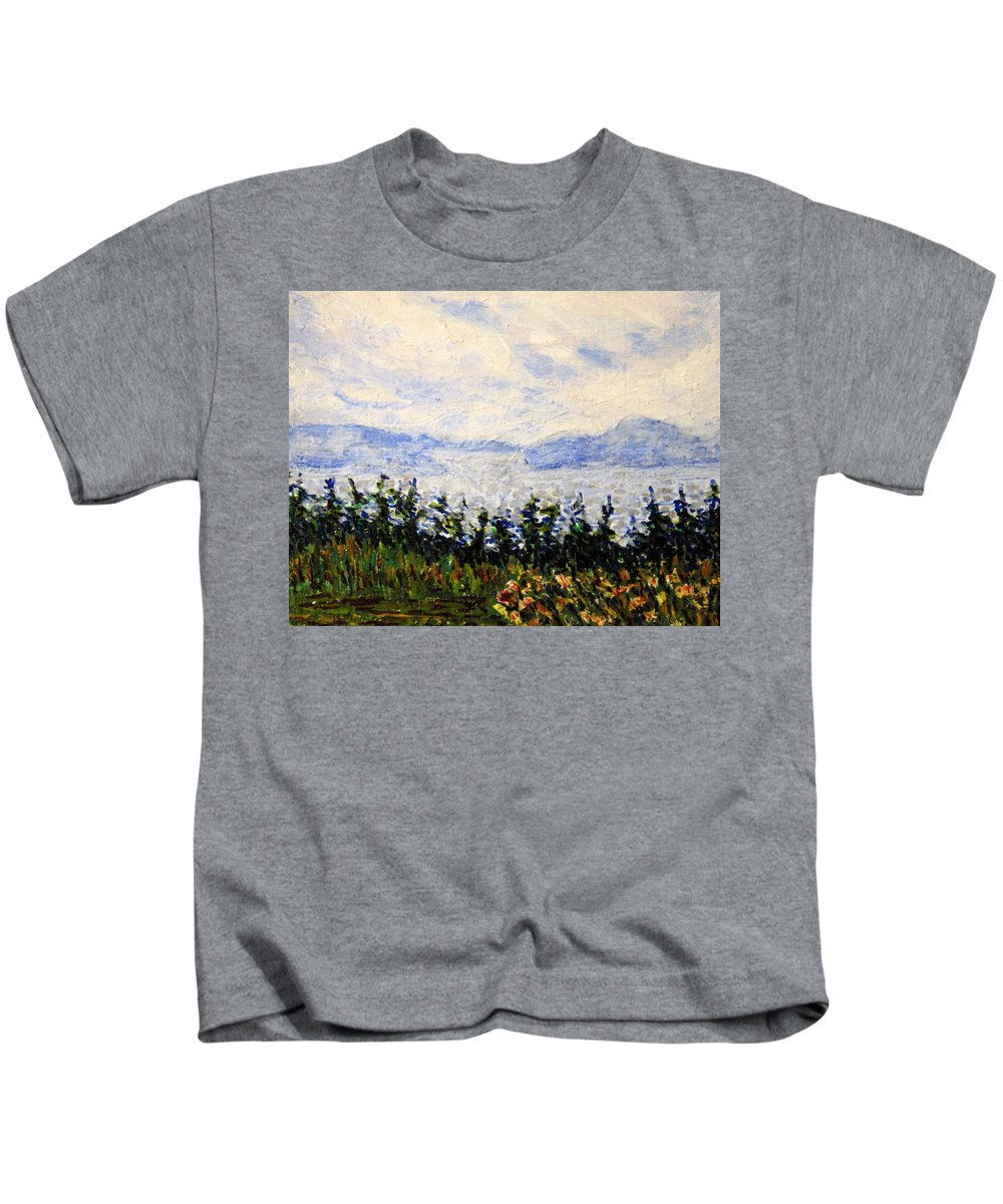 Newfoundland Kids T-Shirt featuring the painting Newfoundland Up The West Coast by Ian MacDonald