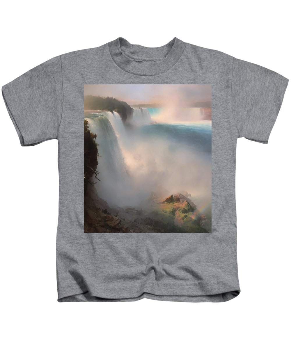 Niagara Falls Kids T-Shirt featuring the painting Niagara Falls From The American Side by Mountain Dreams